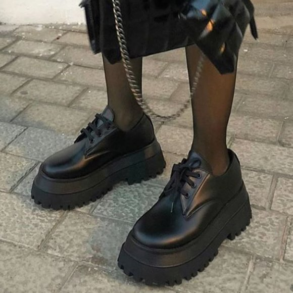 NEW Zara Goth Platform Loafer Derby Lace Up Shoes 36